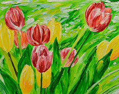 A Time for Tulips (BKHagar *Kim*) Tags: red art yellow painting artwork paint acrylic tulips gift impressionist forchristmas bkhagar