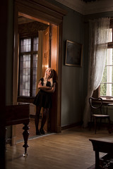 From the Door (hishamtouil) Tags: old house girl canon hall big tatto