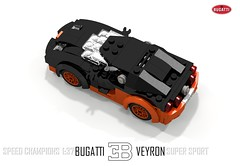 Bugatti Veyron Super Sport (Speed Champions 1:37) (lego911) Tags: world auto records car sport vw volkswagen model break lego lets render ss go some super turbo record 88 bugatti coupe supercar challenge holder cad w16 lugnuts 2010 veyron povray faster moc ldd hypercar lego911 speedchampions letsgobreaksomerecords