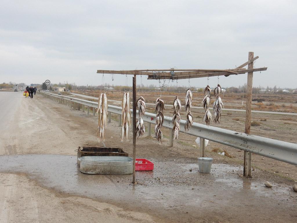 Roadside fish stalls