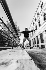 skate... (chris athanasiou) Tags: blackandwhite lines buildings perspective skate