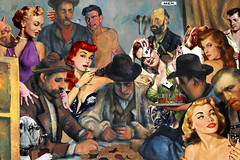 """Artist Returning from the Men's Room"" (barry.kite@att.net) Tags: gambling collage cards parody docsavage vangogh cezanne postimpressionism cmcoolidge thecardplayers pokerdogs pulpwomen"