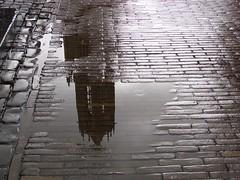 Domtoren (indigo_jones) Tags: street cloud holland reflection brick water netherlands lamp rain puddle utrecht domtoren nederland rainy stadhuis