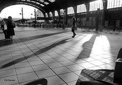 Escenas de estación 8. Station scenes 8. (Esetoscano) Tags: bw españa byn girl station contrast lights luces spain chica shadows silhouettes bn galicia galiza contraste sombras siluetas estación acoruña