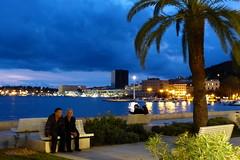 Evening mood (evisdotter) Tags: people lights evening gimp explore palmtree bluehour kväll digitaloilpainting