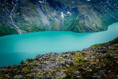 Dramatic Fjords (trevorklatko) Tags: norway boat rocks hiking stones turquoise dramatic blues cliffs ridge backpacking waterfalls fjords besseggen