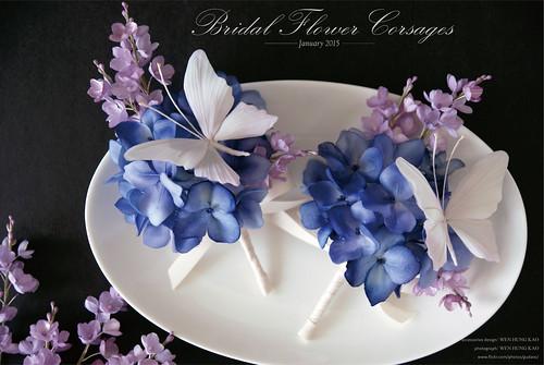 紫陽花與蝴蝶新郎胸花