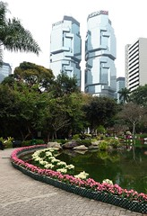 Hong Kong Park and twin towers of Lippo Centre in Hong Kong S.A.R., China (transitpeople) Tags: hongkong lippocentre hongkongpark