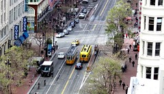 Street Scene (ABCrowther) Tags: sanfrancisco road street streets downtown publictransportation view aerial roads innercity marketstreet streetcars