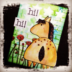 ATC Hi! (Stampinkie) Tags: atc artisttradingcard rubberstamping stampotique