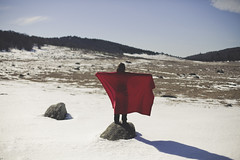 Red (Capelle.R) Tags: winter red portrait snow france cold nature girl forest canon landscape rouge photography 50mm natural wind sweet flag foret gard cevennes 5dm2 capeller