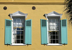 These two: Society Street, Charleston, SC (Spencer Means) Tags: dwwg charleston sc southcarolina street society shutters house window teal earthquake bolt palmetto