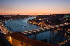 porto nuit (fredpellerin18) Tags: coucherdesoleil douro nuit nuitbleu pontluis1er porto portugal sunset eau crpuscule architecture pont bridge