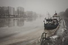 Midday in February (ZeiR) Tags: turku city canong15 janneruohonen finland february winter aurajoki riveraura boat river ice fog