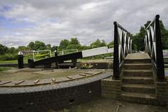 20160716_Locks and Bridge (Damien Walmsley) Tags: bridge flowers sky clouds canal canals lapworth