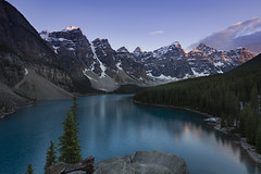 Last light Moraine Lake (andrewpmorse) Tags: trees sunset sky mountain lake canada clouds canon evening nationalpark twilight rocks alberta banff banffnationalpark morainelake valleyofthetenpeaks alpineglow leefilters 20dollarview lee06ndgradsoft 1635f4l