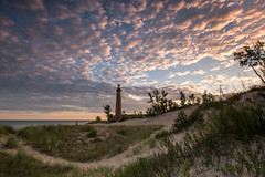 Little Sable Lighthouse (Kevin Povenz) Tags: 2016 july kevinpovenz westmichigan michigan oceana oceanacounty lakemichigan silverlake sunrise earlymorning early morning morningsky landscape seascape beach sand sanddunes grass sky clouds light lighthouse lighhouse canon7dmarkii sigma1020 blue pink outdoor outside outdoors water tree bush green tall