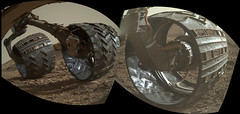 Wheels Shining in the Sunlight (sjrankin) Tags: 24july2016 edited mars nasa panorama wheels undercarriage reflections light msl curiosity galecrater