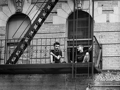 (Goggla) Tags: nyc new york manhattan east village fire escape bw window tenement fireescape