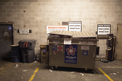 Reserved Parking (Curtis Gregory Perry) Tags: lakeoswego garbage dumpster recycling sign reserved parking annas bridal only clock gallery all others will be towed danger republic services trash refuse waste bin nikon d800e can usa unitedstates united states