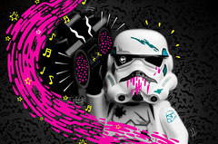 Ghetto stormtrooper doodle bomb (jezbags) Tags: lego macro macrophotography macrodreams macrolego doodle bomb doodlebomb pink yellow blue black white sketch illustration star wars starwars stormtrooper stormtroopers boombox music notes splats paint stars canon60d canon 60d 100mm 80s