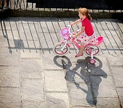 Redhead on Pink Bike (Carolbreeze99) Tags: people bristol play redhead candid street fromabove aerialview bicycle pink colour vibrant vivid ginger hair active shadow light shade