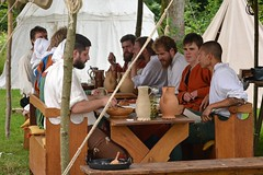 Turning back the time (mikael_on_flickr) Tags: turningbackthetime ificouldturnbacktime medieval medievalmarket voergaard voergaardslot medievale dinner pranzo group gruppo guys ragazzi uomini eating nordjylland danmark denmark danimarca