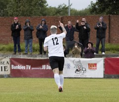 Stevie Young raises a finger of celebration (Stevie Doogan) Tags: clydebank glasgow perthshire exsel group sectional league cup wednesday 10th august 2016 holm park