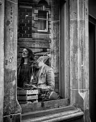 Reflection (Duncan212) Tags: themilkmancockburnstreet edinburgh coffeeshop coffee window glass reflections hat blackandwhite blackwhite bw streetphotography street cockburnstreet