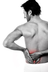 lower-back (mghresearchinstitute) Tags: accident ache agony back body bone care concept condition cropped disorder distress fitness guy hands health holding hurt injury isolated joint lowerback male man massage massaging medical medicine misery one pain painful person problem pull red reddening remedy shirtless sick single spot standing strain stress suffer suffering syndrome therapy treat