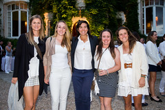 Photographs from the Lacoste Open Welcome Party, Soiree Blanche at Chateau D'Arcangues, Tonje Daffinrud, Chloe Leurquin, Isa Boineau, Eleanor Givens and Marta Zanz pose for a photo (Ladies European Tour) Tags: daffinrudtonjenor givens leurquin boineau sanz chantaco france fra