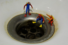Drain cleaning (jopperbok) Tags: jopperbok macro miniature miniaturefigure miniaturefigures miniaturefiguresphotography mini miniaturepeople miniaturepeoplephotography littlepeople little labour figures figure sport sports diving diver divers water sewer drain cleaning job dirty mikerowe mike rowe circle circles white colours declogg unclogg unblock drainage tabletop ridgid ho preiser flickrlounge weeklytheme