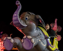 Happiness is... (Brian Negus) Tags: belgrave night smile funfair leicester diwali ride flyingelephant