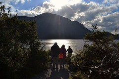 Flare-up.. (Michael C. Hall) Tags: sun lake mountain scenic walk family sunday lens flare