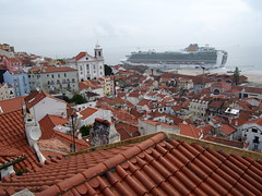 Alfama district with a cruiseship in The background.