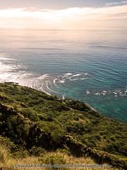 Lighthouse in the Distance (Bitter-Sweet-) Tags: ocean travel sunset lighthouse water landscape outside outdoors hawaii golden glow oahu head hiking trails diamond honolulu kaimuki