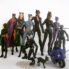 """All my Catwomans so far. I think the only legit costumes I don't have represented are the couple odd ones from the 40's to 70's; the Long Halloween; the post-crisis 80's gray with the tail, """"The Batman""""; the later black suit from cartoon; the Halle Berry; (funrama) Tags: square squareformat unknown iphoneography instagramapp uploaded:by=instagram"""