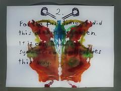 This is not Rorschach 2.: This is Inkblot/Faltbild/Klecksographie/Abklatsch - For the first time we did this at Kindergarten - easy way to paint symmetrical butterflies -Spiegel Mirror - Pareidolia No Miracle No Oracle (hedbavny) Tags: vienna wien portrait test man game male art face ink butterfly insect pareidolia beard austria mirror sterreich gesicht play spiegel kunst diary bart dream rorschach portrt note silence simplicity letter imagination mann form shape inkblot simple schrift testbild copy psychiatrie tagebuch tinte kopie schmetterling krawatte anzug klecks stille workingroom traum werkstatt symmetrie handschrift bung psychologie notiz buchstabe aufgabe einfachheit diagnostik pareidolie hermannrorschach faltbild justinuskerner abklatsch klecksbild tintenklecksbild hedbavny ingridhedbavny klecksographie wochenbuch formdeuten rorschachformdeuteversuch szymonhens