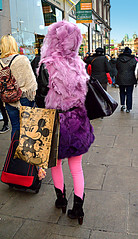 Pink Pedestrian (Owen J Fitzpatrick) Tags: life street camera pink ireland winter people dublin irish woman cold girl leather fashion lady female shopping bag fur mouse photography j back store clothing high furry comic december graphic boots drawing pavement candid rear cartoon warmth fluffy pedestrian funky joe disney mickey eire hoody elements heels trousers hood behind owen dslr unposed creature tamron brand protection straps consumer demand oconnell chasing fitzpatrick shopper fashionable garb 2014 westmoreland attire nikond3200 superzoom republicofireland ojf 18270mm ojfitzpatrick