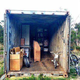 Shipping Container. It's like a living box of tetris.
