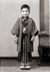 Japanese Boy in Hakama & Sandals, Vintage (Vintage Japan-esque) Tags: old boy portrait people man male smile fashion japan vintage children person japanese child hakama kimono geta foundphotograph   traditionalfashion