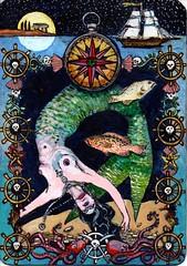 PIrate Deck front (little jule) Tags: fish art illustration fineart pirate visualjournal mermaid artjournal tarotdeck ghostpirate julianacoles