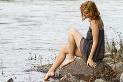 Evie (austinspace) Tags: park portrait woman forest river washington spring spokane dress riverside state redhead trail barefoot 57