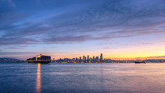 Nirvana (John Westrock) Tags: seattle sunrise cityscape ship water clouds colorful downtown pacificnorthwest canoneos5dmarkiii reflections morning johnwestrock pwlandscape canonef2470mmf28lusm washington