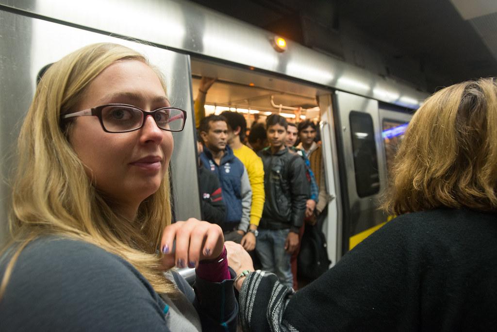 Busy metro in Delhi