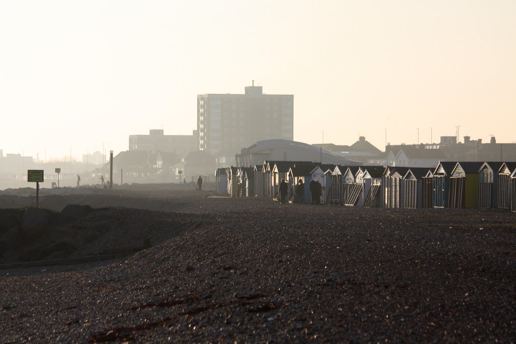 On Lancing Beach - Feb 2015 - Beach Hut Shanty Town