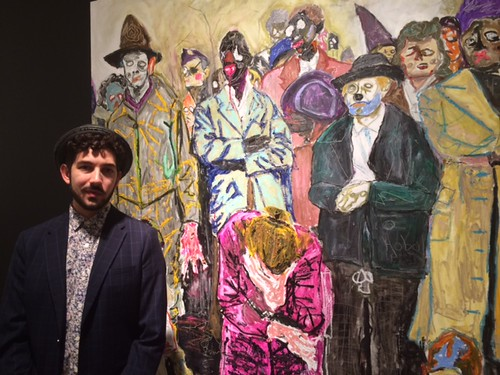 Anthony Spinello at his Solo booth (B11) with Farley Aguilar work, art Wynwood