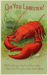 Oh You Lobster! (Alan Mays) Tags: ephemera postcards paper printed lobsters animals crustaceans claws antennae ohyoulobster ohyoukid ohyou catchphrases wordplay faults love deny humor humorous funny comic amusing borders rhymes illustrations red green 1910s antique old vintage