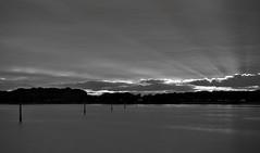 Every Cloud............ (hall1705) Tags: longexposure sunset sky sun water marina mono blackwhite westsussex dramatic beam rays treeline chichester silverlining d3200 everycloud