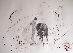The Stare Down (www.kevinmaxwellsfineart.com) Tags: bulls bullfighting josetomas graphite chinagraph blood anegitive blackandwhite toros torosymatadores matadores drawing spanish espana